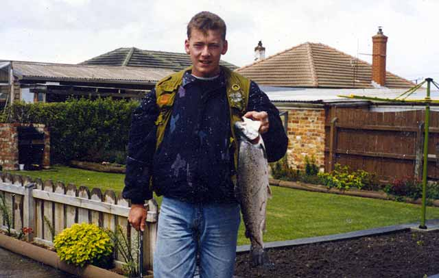 Brad Martin with a 7lb sea-run brown trout also from the Taieri River. Sea-run trout.
