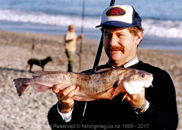 Allan Burgess with a red cod caught surfcasting from a beach near Haast, South Westland.