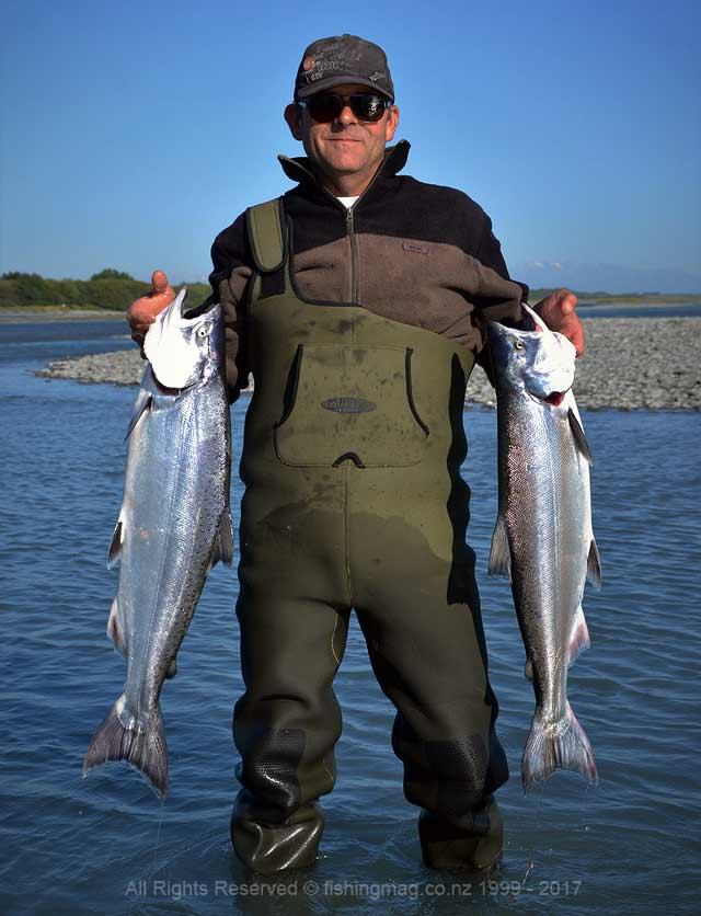 Erik Vanderzet with a early morning limit bag from the lower Rakaia River. 2017-2018 Salmon Season.