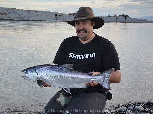 The author Charles Smith with a Rakaia gut salmon caught one morning as the river was rising.