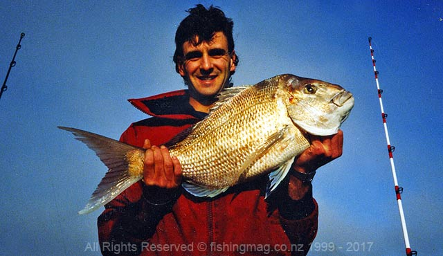 Brett Le Bhertz with a 13.5lb Pelorus Sound snapper. Photograph, Darryl French.