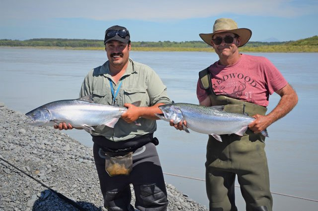 Erik Vanderzet and myself with a salmon each on the start of a great day fishing the clear edge on the Rakaia River, we caught our salmon in a matter of casts together. Salmon Fishing 2017-2018.