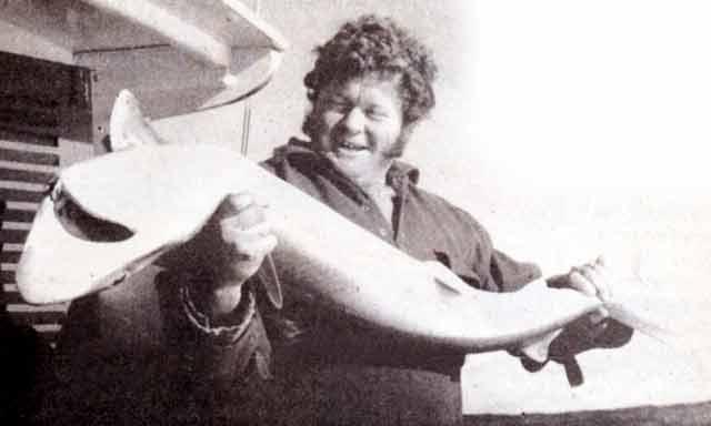 Pete Bell with a big Fiordland school shark.