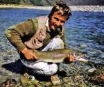 Just enough time for a quick photograph and the fish was off. Photo Monty Wright. Routeburn River.