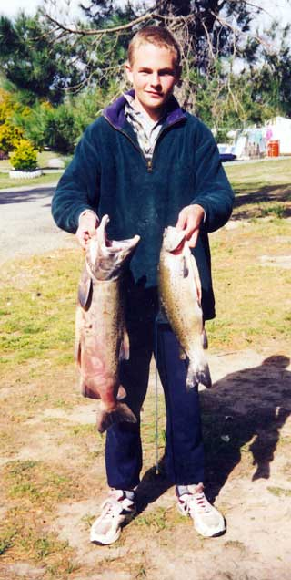 Krent's 8lb salmon and a trout. Salmon Fever.