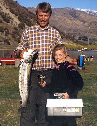 The happy winner of the Junior Section of the Kilwell Sports Fishing Competition held on Lake Dunstan.