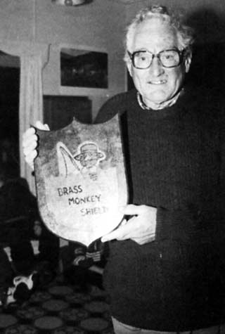 Richard Marles displays the Brass Monkey Shield which has been contested by the two clubs at Lake Benmore every winter for 23 years.