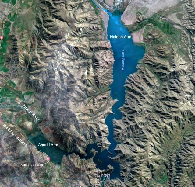 Lake Benmore map courtesy of Google Earth. Imagery © DigitalGlobe. Map data © 2018 Google.