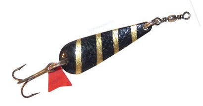 Glimmy brass trout spoon lure or spinner bait. Featured image.