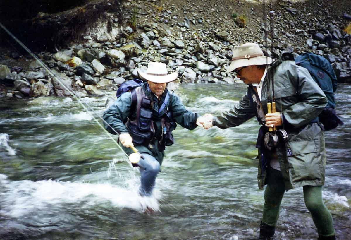 Denis Brundell helping Rod across the Greenstone River.