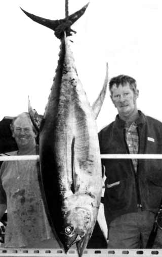 Milton Simons took the heaviest tuna prize with this 48kg yellowfin on 24kg tackle.