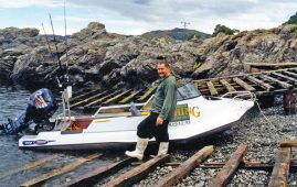 Allan Burgess at Goose Bay, Kaikoura. The little Stabi-Craft 430 was light and easy to handle. You only had to go 500 metres to be fishing in very deep water.