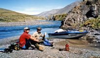 Adrian Moody (left) and the author take a break for a brew, above the Waimakariri Gorge.