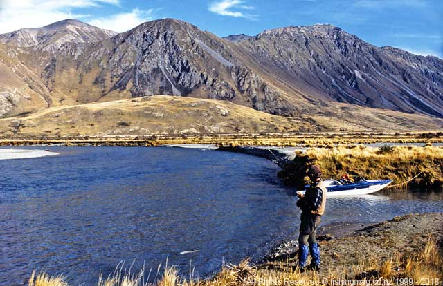The author plays a 6lb brown trout, Rangitata River, near Rata Peaks. Jet boat.