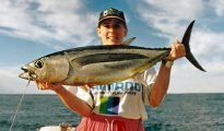 Rebecca Dore with a big 9.5kg albacore tuna taken off the Kaikoura Coast.