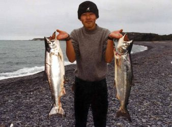 Salmon are caught by anglers over summer spin fishing from the beach right next to the middle of town in Kaikoura.