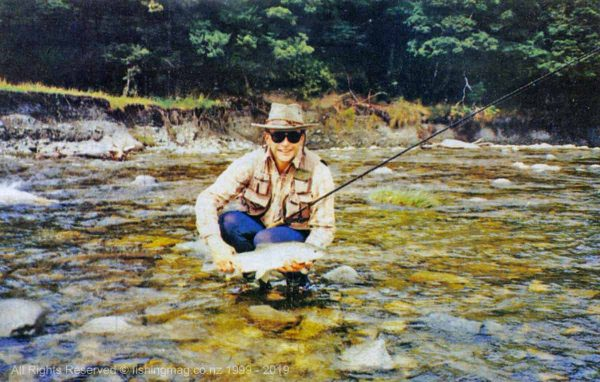 Graeme Smith with his 5lb rainbow from Larry's Creek (near Reefton). Catch and Release.