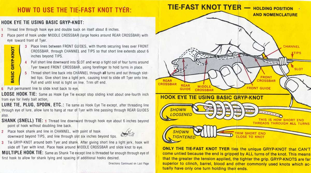 The instructions that come with the Tie-Fast.