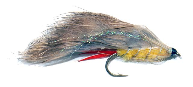 Typical Yellow Rabbit streamer fly which is popular as a trolling and casting lure all around New Zealand. Here it is tied on a size 2 Kamasan B830 Classic Trout lure hook.
