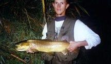 The author with a 8.5 lb brown trout that was caught with the aid of good advice.
