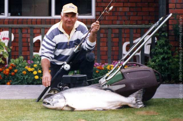 Massive 35lb salmon from the Waimakariri River. Caught before the 1995/1996 season fish this size were not uncommon.