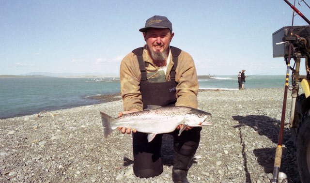A big sea-run brown trout taken at the mouth of the Rakaia River.