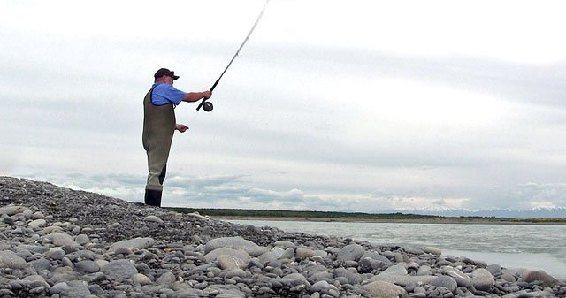 Fishing mate Kelvin Derry casting with the Canterbury Lure Rod at South Rakaia.