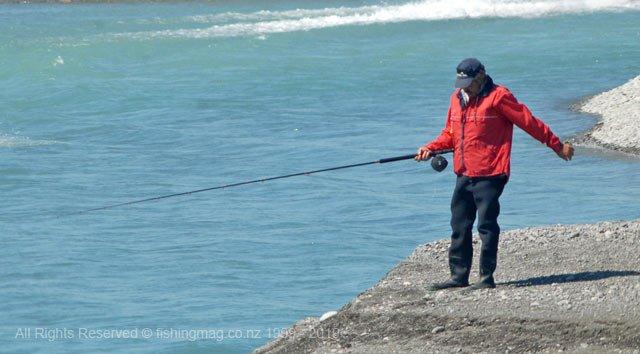 Fishing the lure rod in the Rakaia River.