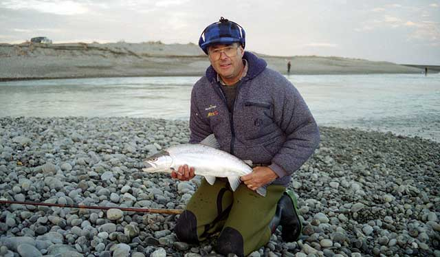 This sea-run brown trout was taken in the Rakaia River on a Canterbury lure rod. Note the short stocky frame of this bright silver fish.