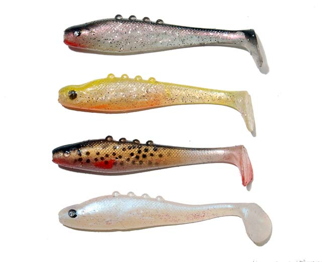 More soft-plastic lures suitable for sea-run brown trout fishing. These are from the Dragon V-Lures Lunatic 3 inch range. They are just the right size to imitate smelt.
