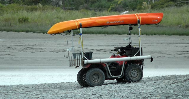 One of the biggest problems for salmon, and sea-run trout, anglers at Canterbury river mouths is access. The lagoons are often too wide and deep to wade across. A sit-on-top kayak makes it possible to get to the best runs.