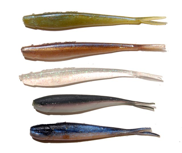 Soft-plastics have become very popular for sea-run trout fishing. These are PowerBaits from Berkley with two Berkley Gulp! Alive! minnows at the bottom.