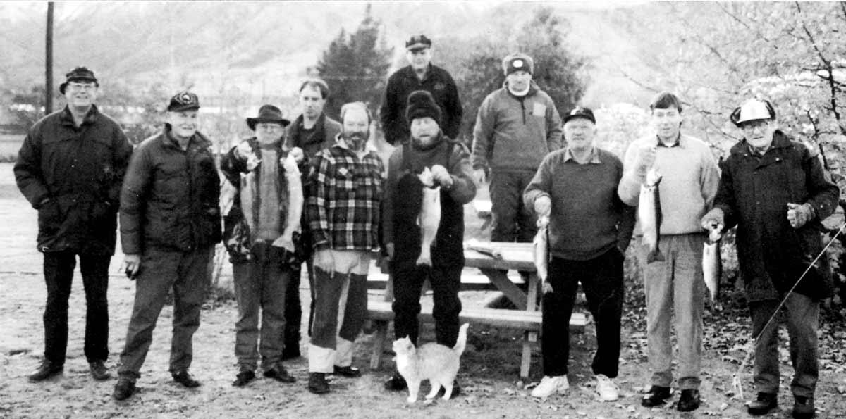 From left: Canterbury Anglers Club Team, Len Isitt, Kevin Lynch, Ken Twyman, Fred Van Slooten, Jim Smith, Fred Nicoll (top) Poel Bjerregaad, Trevor Wooten, Colin Wilson, Grant Kingsland, and Richard Marles.