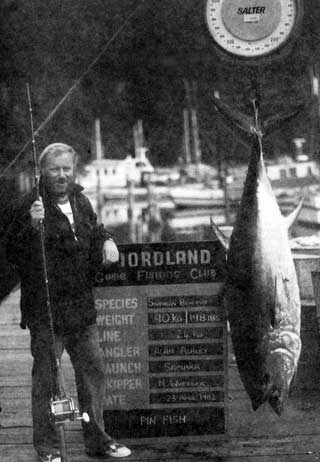 Southern bluefin tuna weighing 90kg (198lb) taken on 24kg line by Alan Ashley aboard the launch Samara, skippered by M. Wheeler, on 23 April 1982.