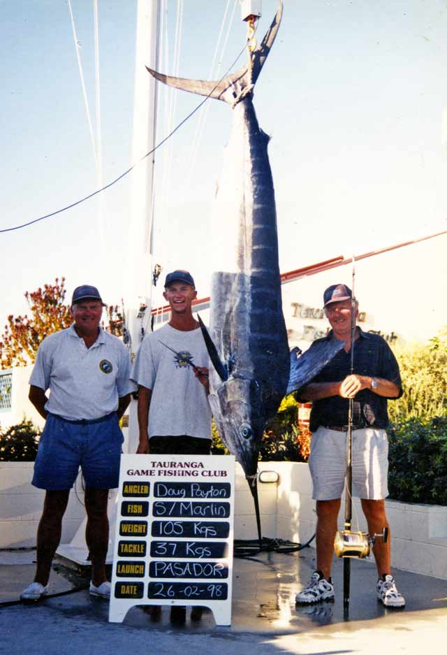 Marlin. Doug Payton (right) with his 60th birthday 105 kg striped marlin caught near Astrolabe Reef.