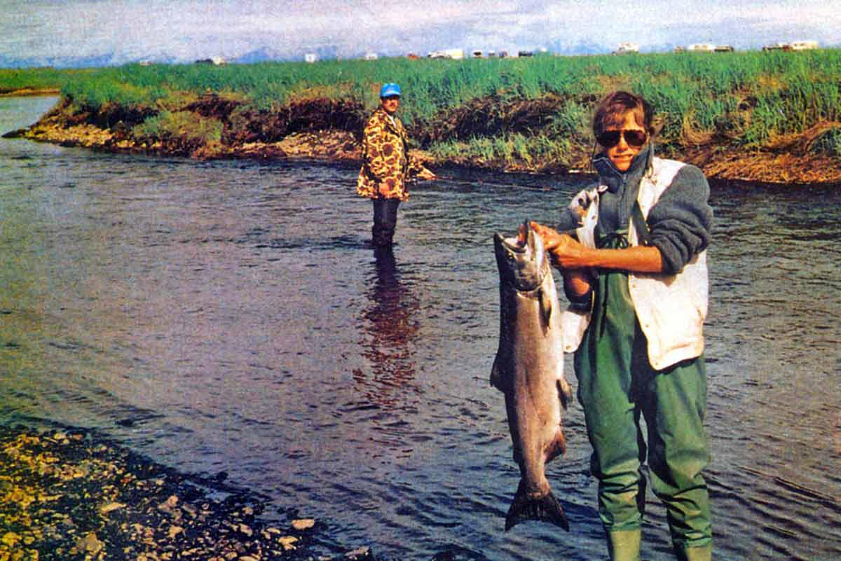 Small rivers, big Alaskan salmon. The ocean is only 300 metres away.