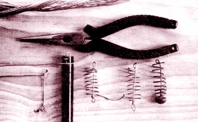 The four steps of manufacturing a berley cage and a berley cage sinker.