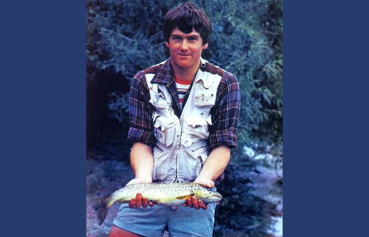 Dave Moss with a plump golden Lake Hayes brown trout.