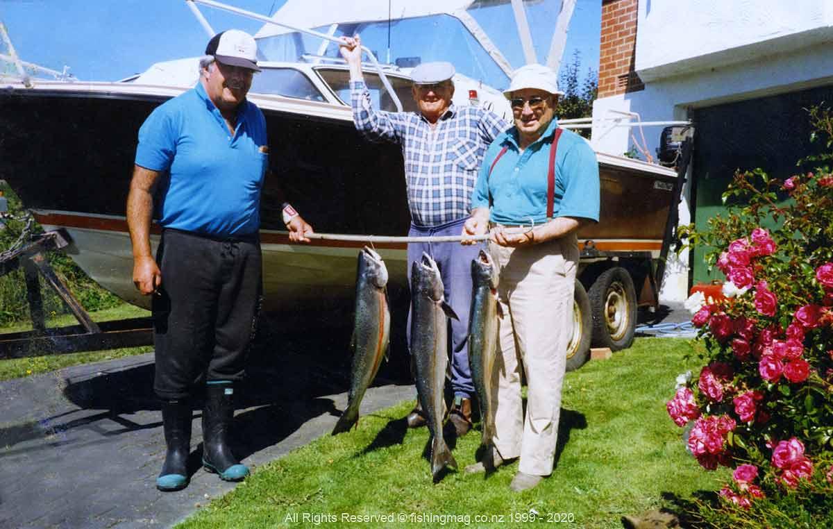Salmon caught trolling in Otago Harbour. Dunedin Wharves Salmon Fishing.