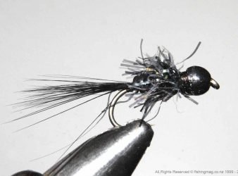 The Black Tungsten Bead Head Attractor Nymph is quite simple to tie. It is an effective pattern for deep water fishing.