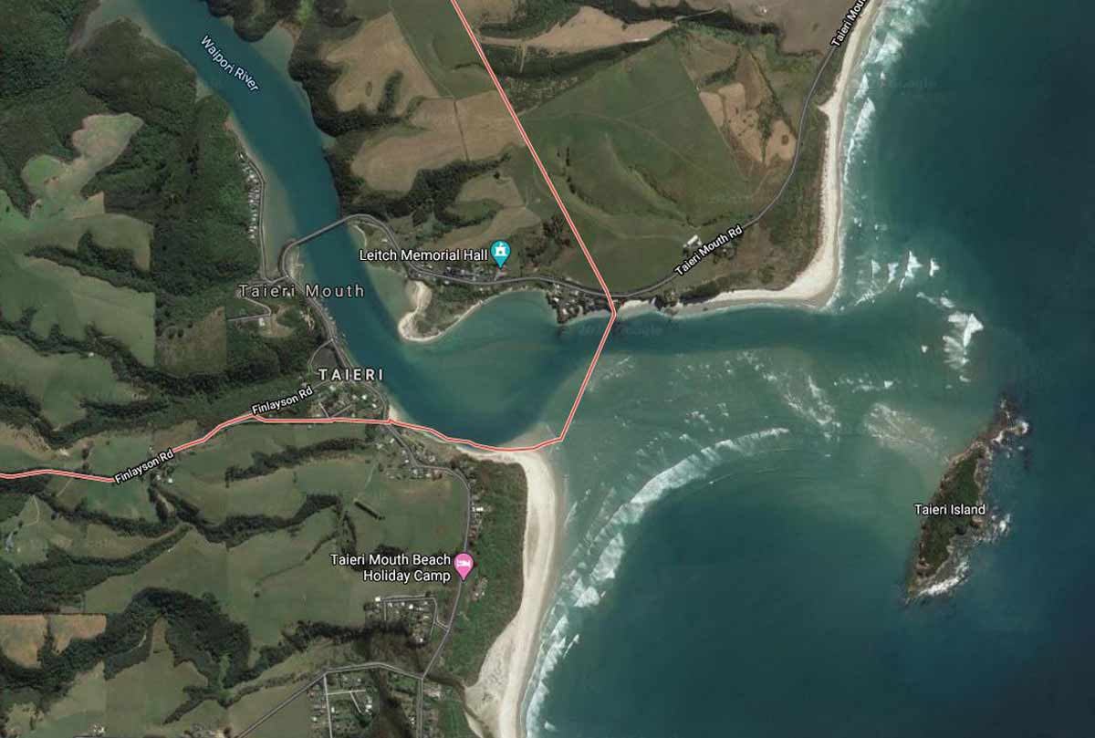 Taieri Mouth map courtesy of Google Earth.