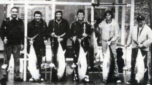 A line up of southern bluefin tuna from the 1978 Nationals. From left are Tom Beange, Roy Moss, Darcy Hagitt, Brent Vincent, Dick Marquant and the late Dave Lamming.Fiordland Game Fishing Club