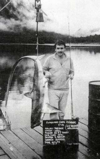 A New Zealand record for Dr Pat Farry - 30.23 kg on 10 kg line. Fiordland Game Fishing Club.