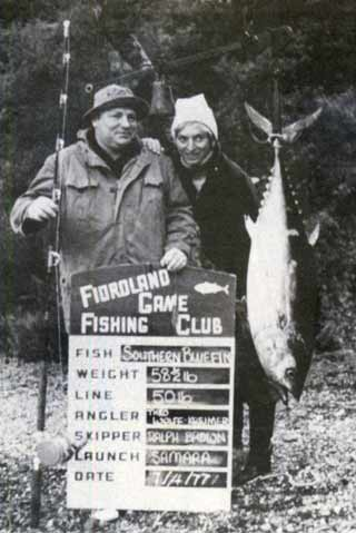 Theo Eolfr-Kreimer and his wife with a respectible 26.54 kg southern bluefin tuna. Fiordland Game Fishing Club.