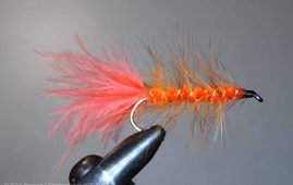 Orange Woolly Buggar harling lure similar to that which Cliff Halford called B.O.B.s or Big Orange Buggers.