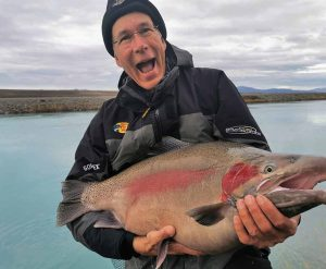 A magnificient 27.5lb rainbow jack in spawning colours from the Tekapo Canal. Photograph courtesy of Roland Brunner. Twizel Canals.