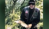 The author with a brownie from the Selwyn River. Trout Bait Fishing Secrets.