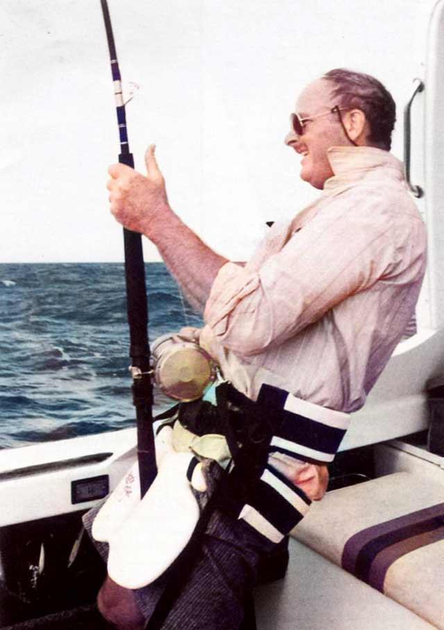 "The author with a ""west coast striped marlin"" on the line."