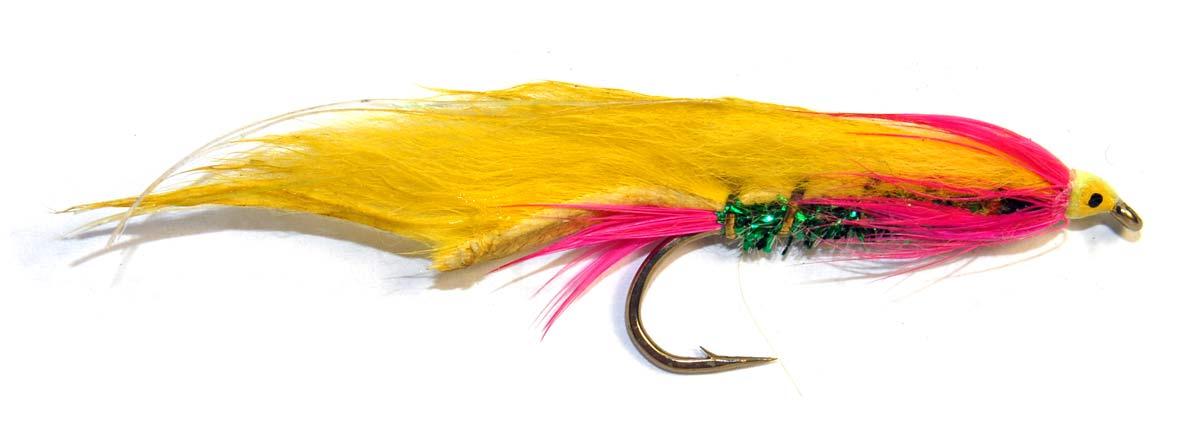 Pink/Green/Yellow Crusader. Salmon Flies.