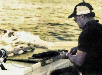 "Displaying the skills of a surgeon, Skipper David Auld rigs a kahawai ""skip bait. Marlin Hunting."